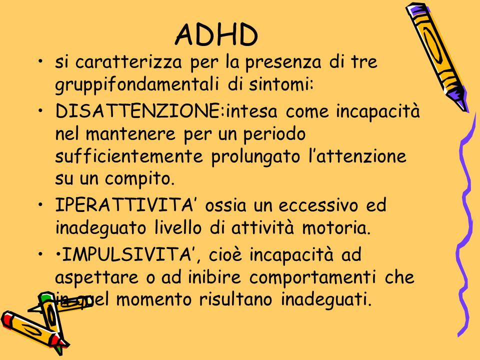 ADHD si caratterizza per la presenza di tre gruppifondamentali di sintomi: