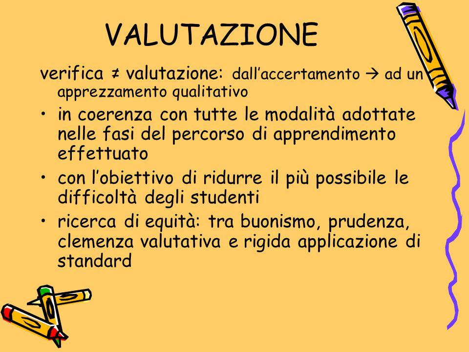 VALUTAZIONE verifica ≠ valutazione: dall'accertamento  ad un apprezzamento qualitativo.