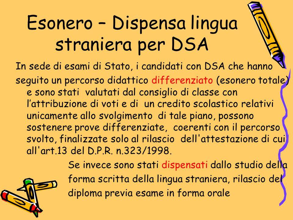 Esonero – Dispensa lingua straniera per DSA