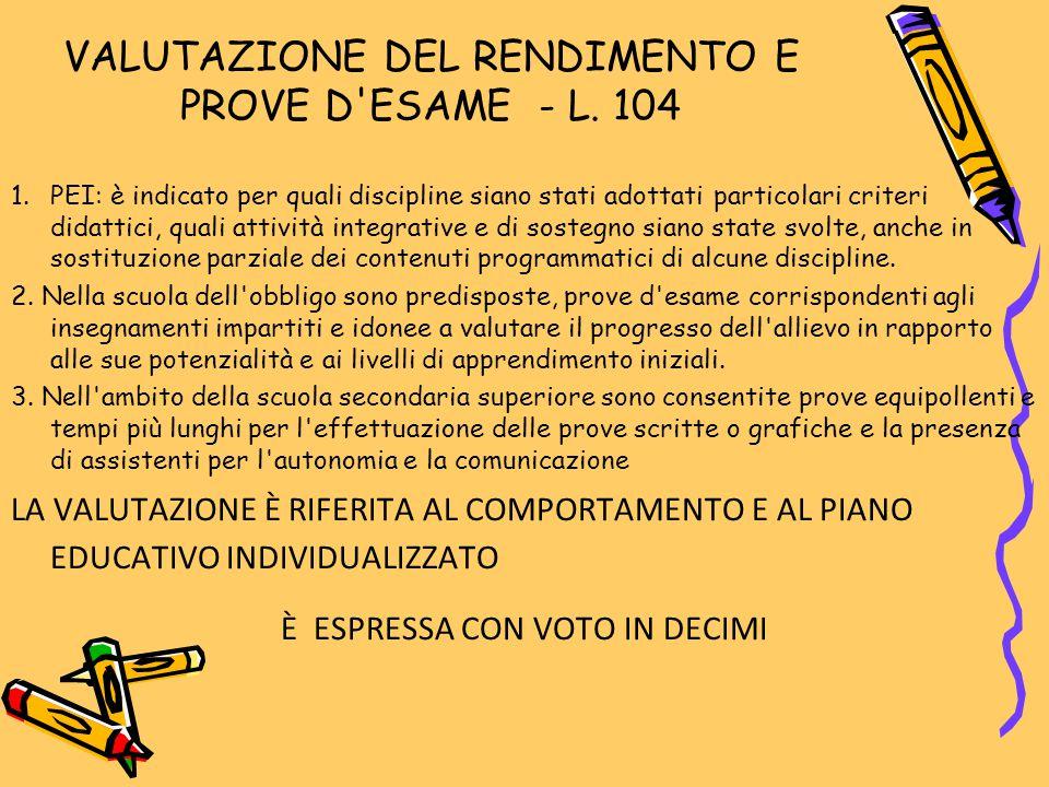 VALUTAZIONE DEL RENDIMENTO E PROVE D ESAME - L. 104