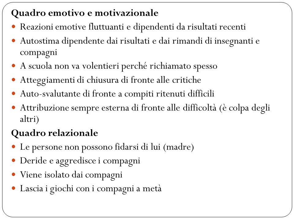 Quadro emotivo e motivazionale