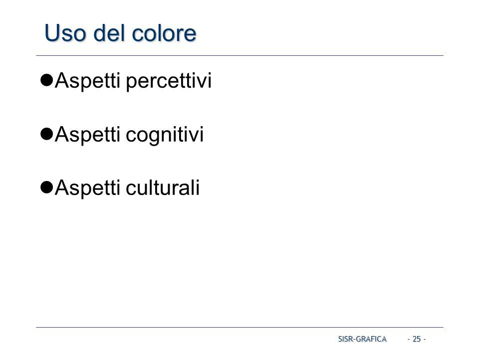 Uso del colore Aspetti percettivi Aspetti cognitivi Aspetti culturali