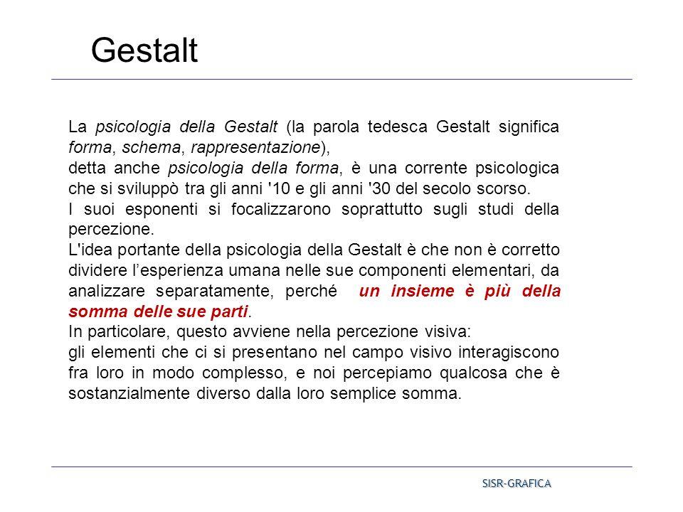 Gestalt La psicologia della Gestalt (la parola tedesca Gestalt significa forma, schema, rappresentazione),
