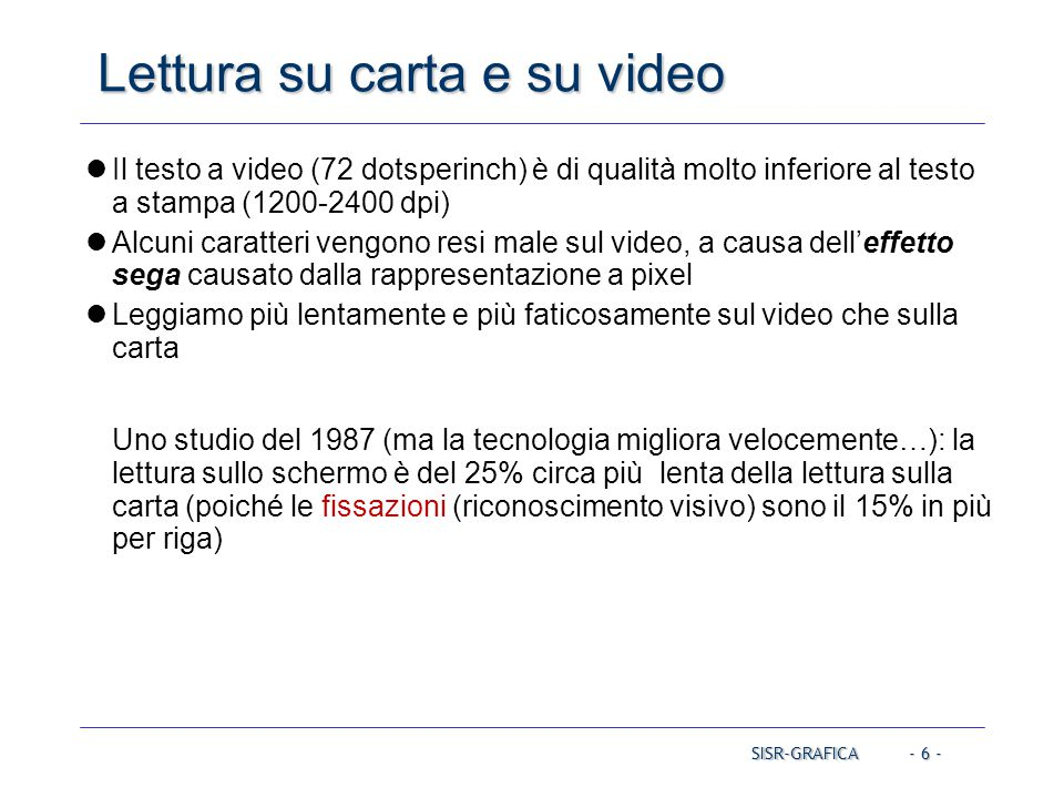 Lettura su carta e su video