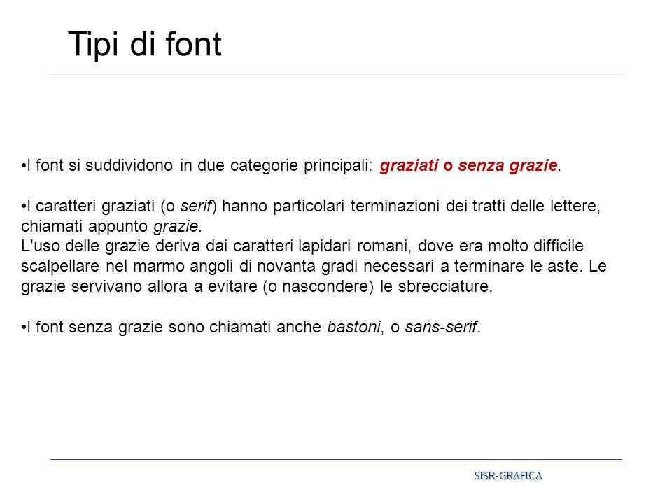 Tipi di font I font si suddividono in due categorie principali: graziati o senza grazie.
