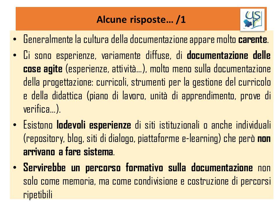 Generalmente la cultura della documentazione appare molto carente.