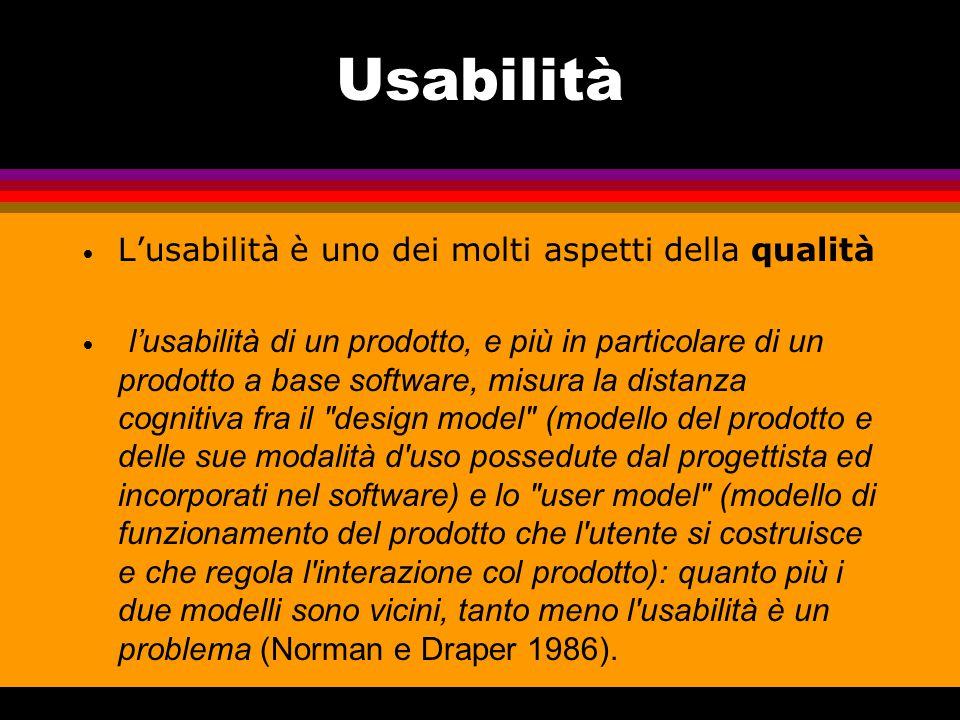 Usabilità L'usabilità è uno dei molti aspetti della qualità