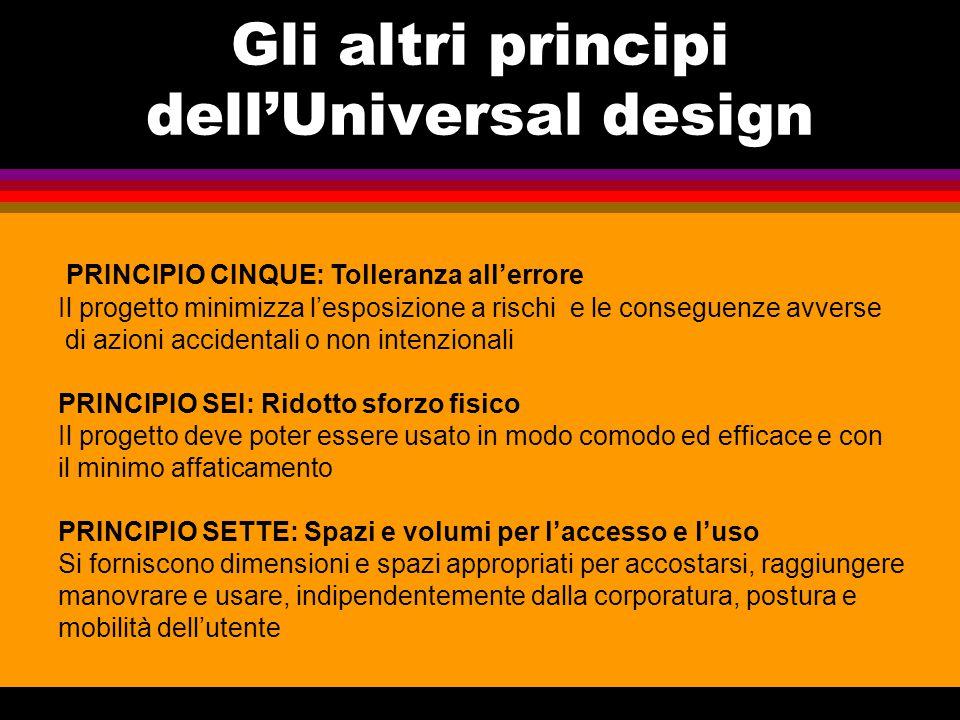 Gli altri principi dell'Universal design