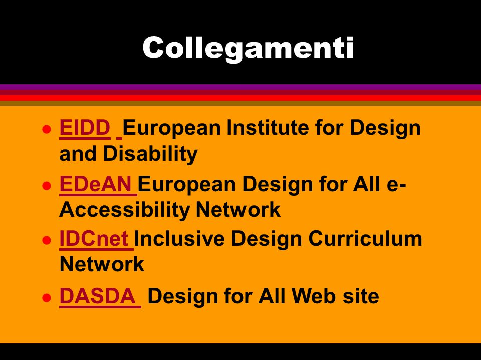 Collegamenti EIDD European Institute for Design and Disability