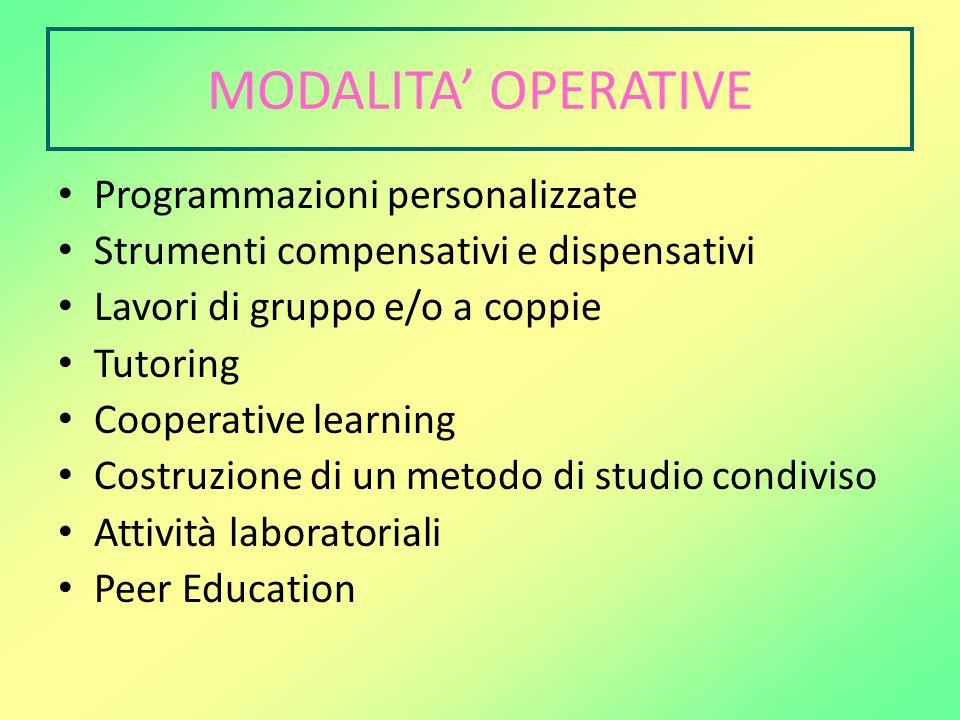 MODALITA' OPERATIVE Programmazioni personalizzate