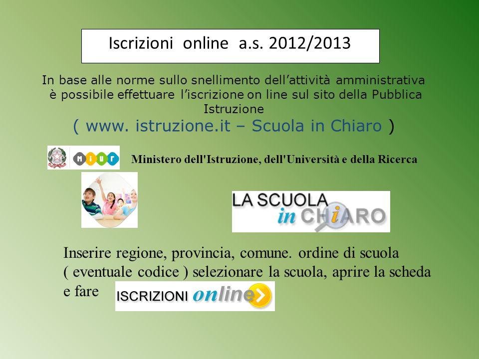 Iscrizioni online a.s. 2012/2013 In base alle norme sullo snellimento dell'attività amministrativa.