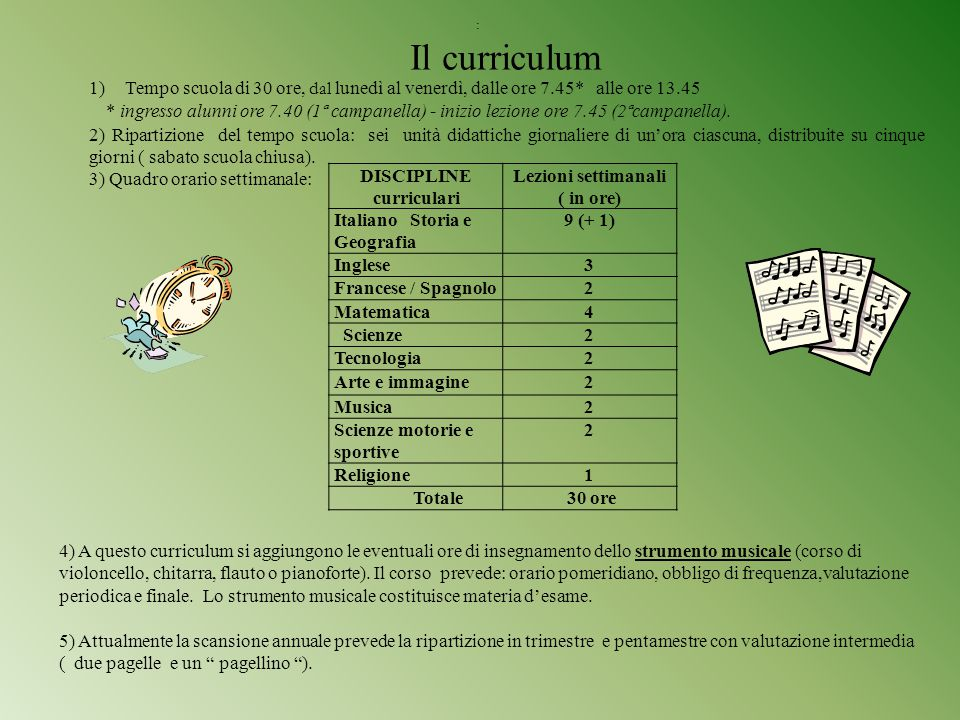 DISCIPLINE curriculari Lezioni settimanali ( in ore)