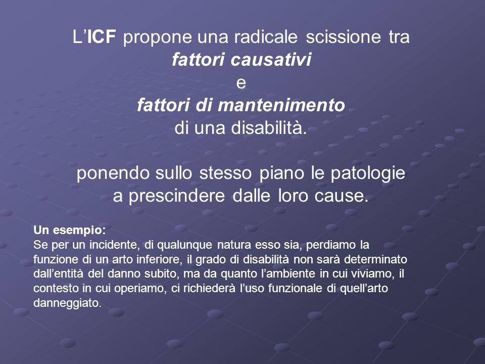 L'ICF propone una radicale scissione tra fattori causativi e fattori di mantenimento di una disabilità. ponendo sullo stesso piano le patologie a prescindere dalle loro cause.