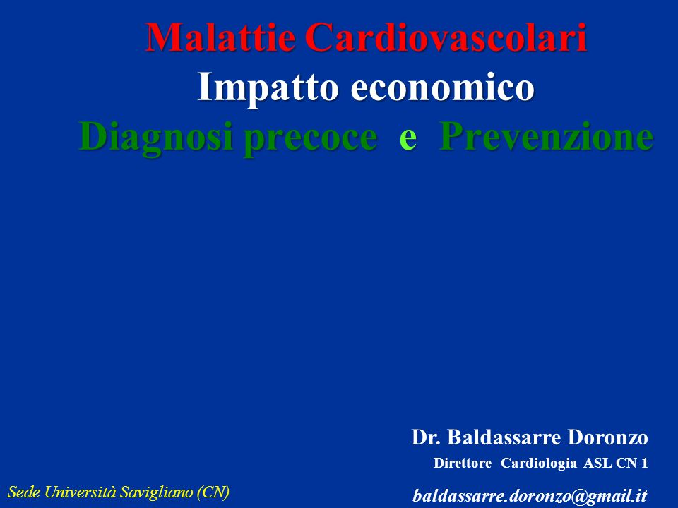 Dr. Baldassarre Doronzo Direttore Cardiologia ASL CN 1