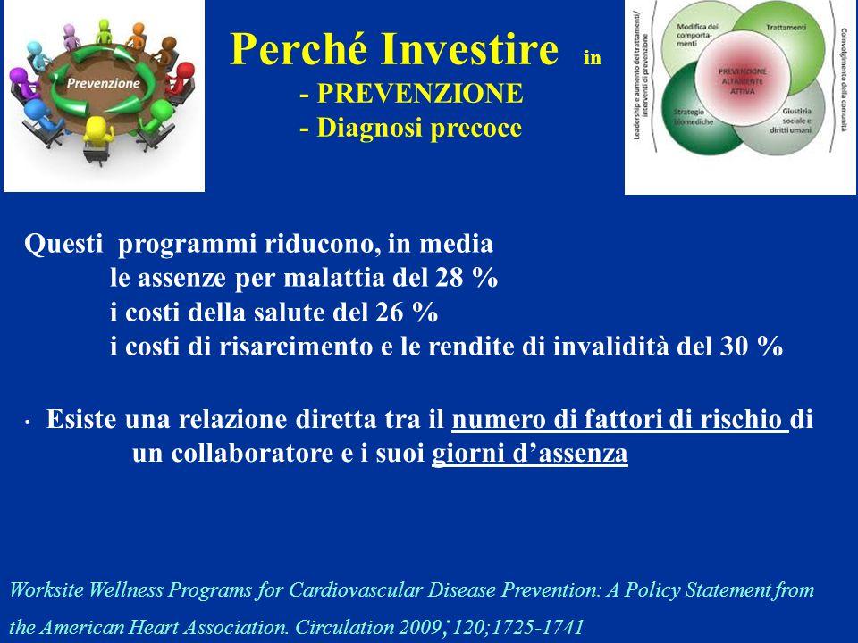 Perché Investire in - PREVENZIONE - Diagnosi precoce