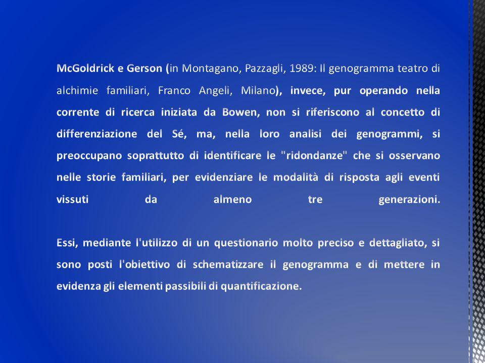 McGoldrick e Gerson (in Montagano, Pazzagli, 1989: Il genogramma teatro di alchimie familiari, Franco Angeli, Milano), invece, pur operando nella corrente di ricerca iniziata da Bowen, non si riferiscono al concetto di differenziazione del Sé, ma, nella loro analisi dei genogrammi, si preoccupano soprattutto di identificare le ridondanze che si osservano nelle storie familiari, per evidenziare le modalità di risposta agli eventi vissuti da almeno tre generazioni.