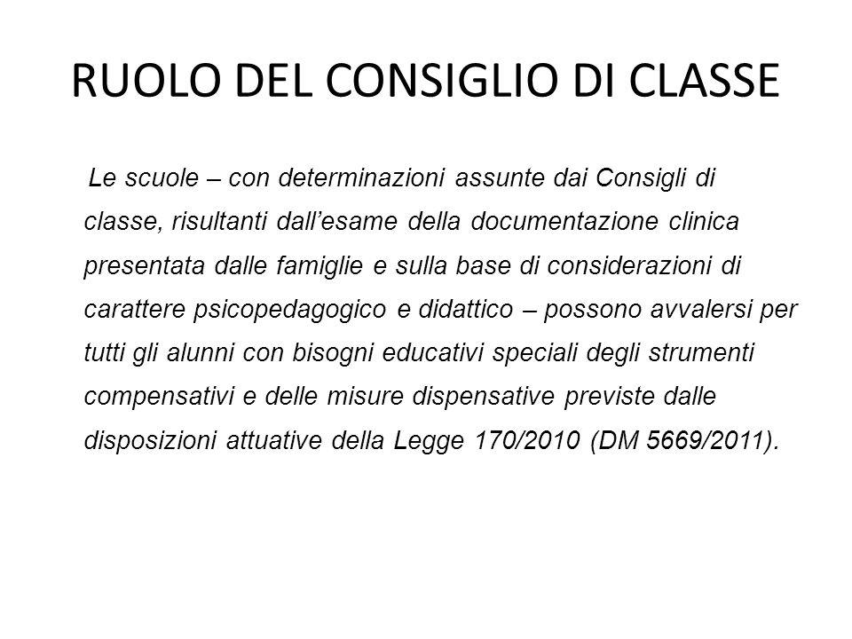 RUOLO DEL CONSIGLIO DI CLASSE