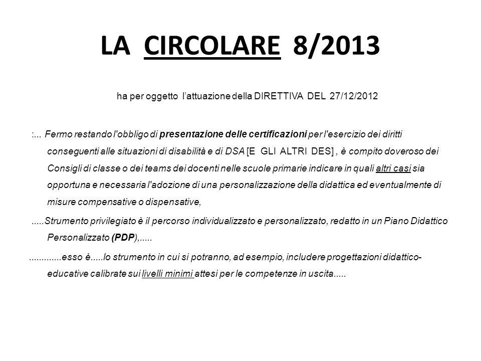 LA CIRCOLARE 8/2013