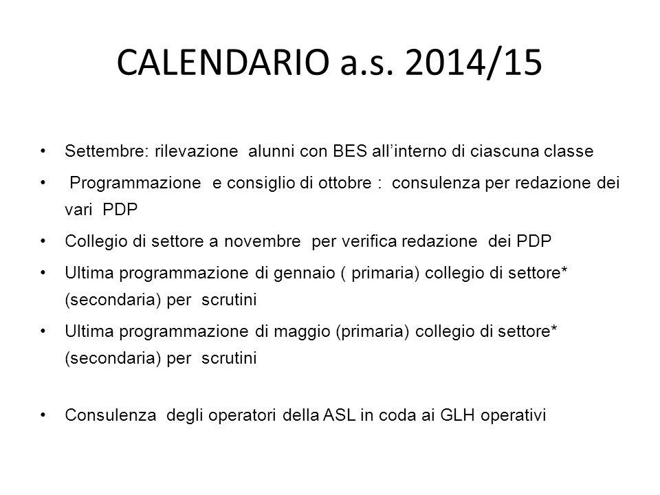 CALENDARIO a.s. 2014/15 Settembre: rilevazione alunni con BES all'interno di ciascuna classe.