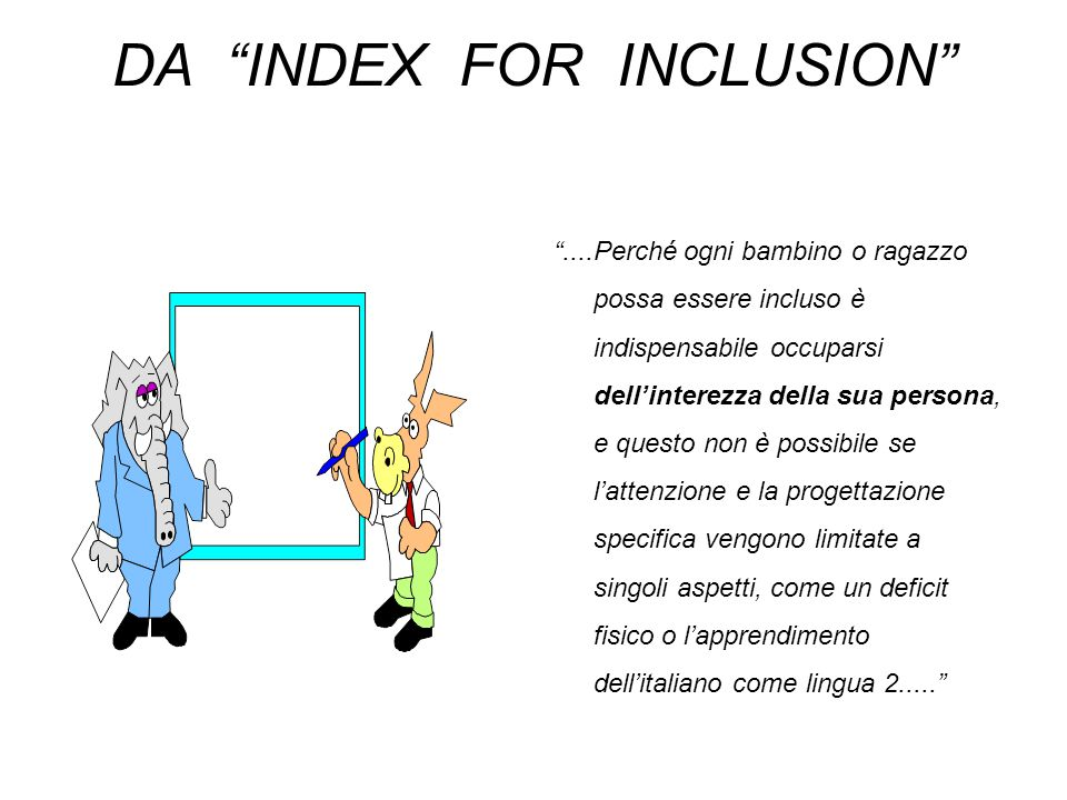 DA INDEX FOR INCLUSION