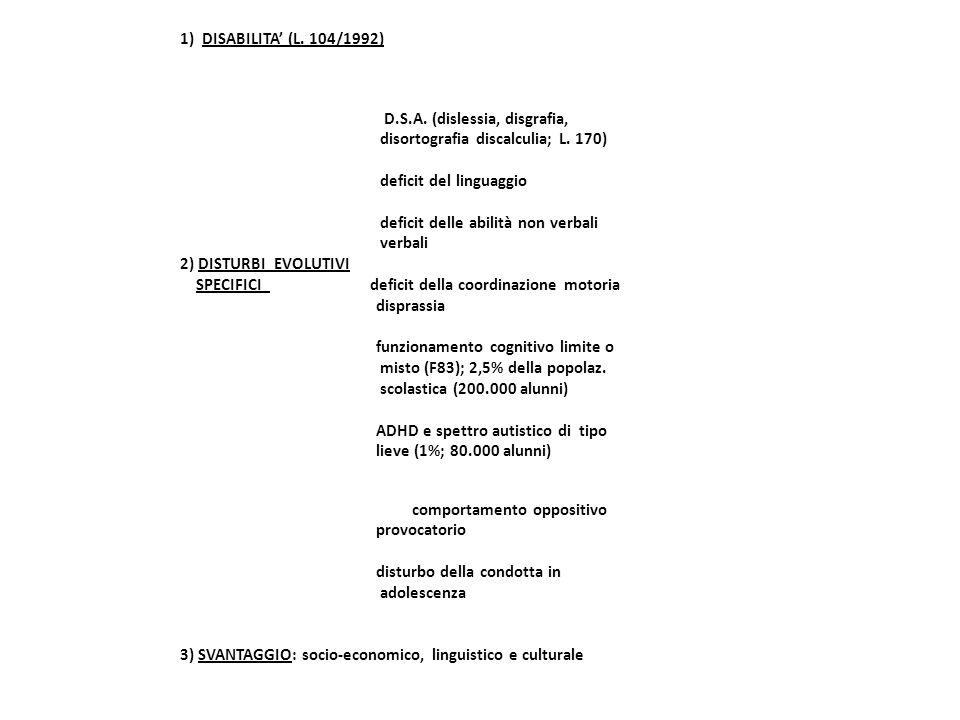 1) DISABILITA' (L. 104/1992) D.S.A. (dislessia, disgrafia, disortografia discalculia; L.