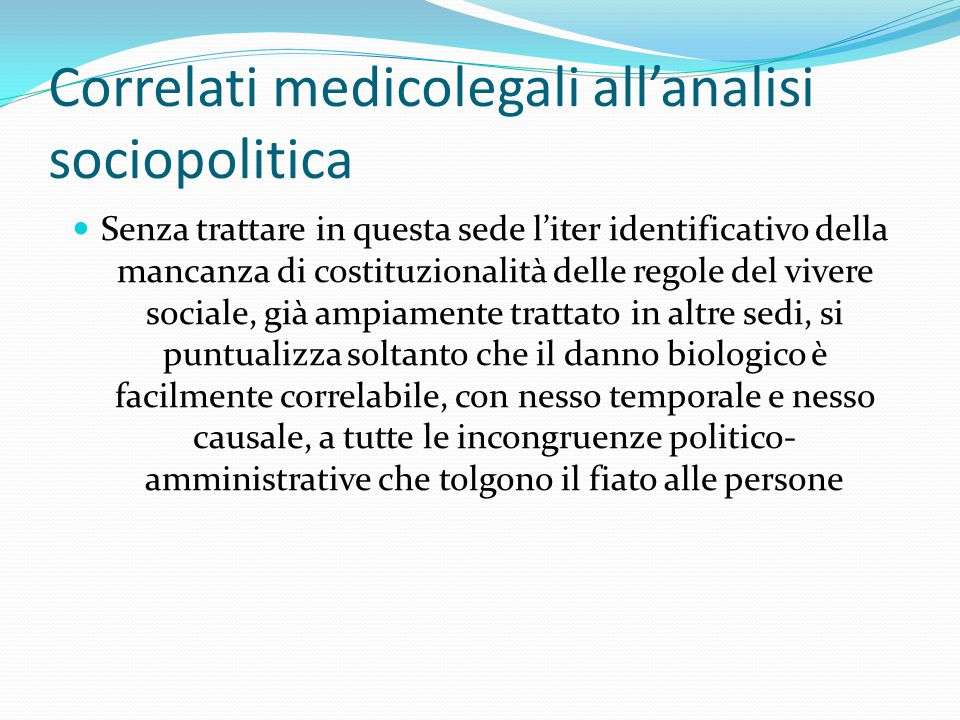 Correlati medicolegali all'analisi sociopolitica