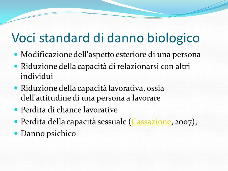 Voci standard di danno biologico