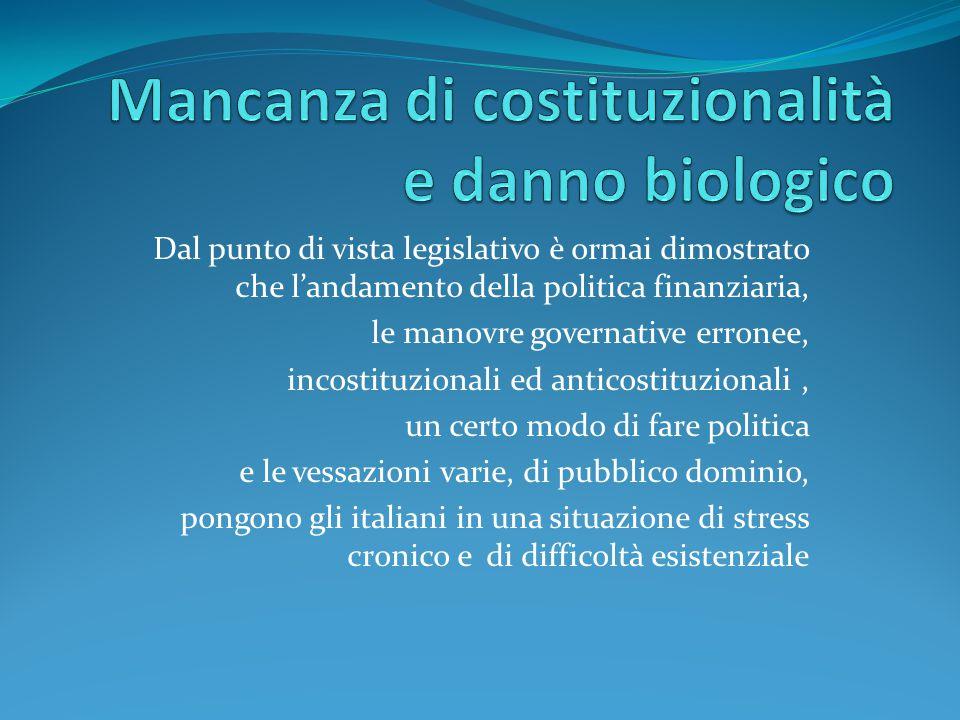 Mancanza di costituzionalità e danno biologico