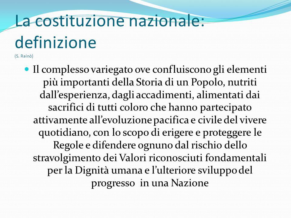 La costituzione nazionale: definizione (S. Rainò)