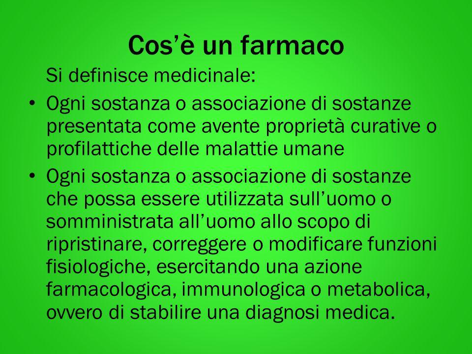 Cos'è un farmaco Si definisce medicinale: