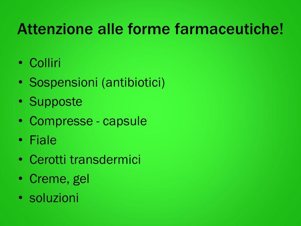 Attenzione alle forme farmaceutiche!