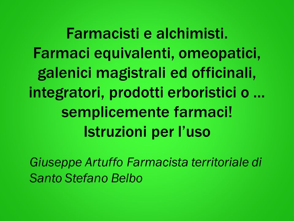 Giuseppe Artuffo Farmacista territoriale di Santo Stefano Belbo