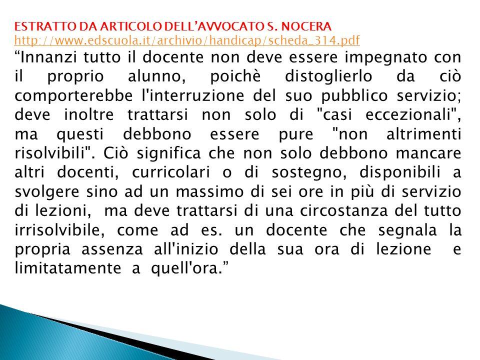 ESTRATTO DA ARTICOLO DELL'AVVOCATO S. NOCERA http://www. edscuola