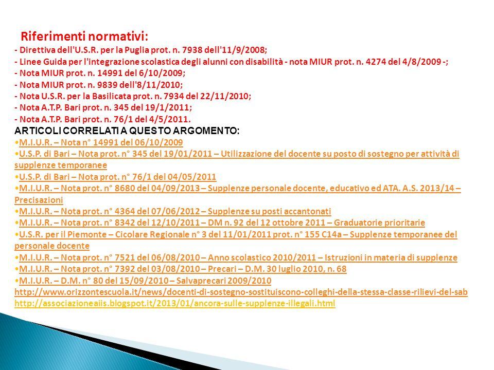 Riferimenti normativi: - Direttiva dell U. S. R. per la Puglia prot. n