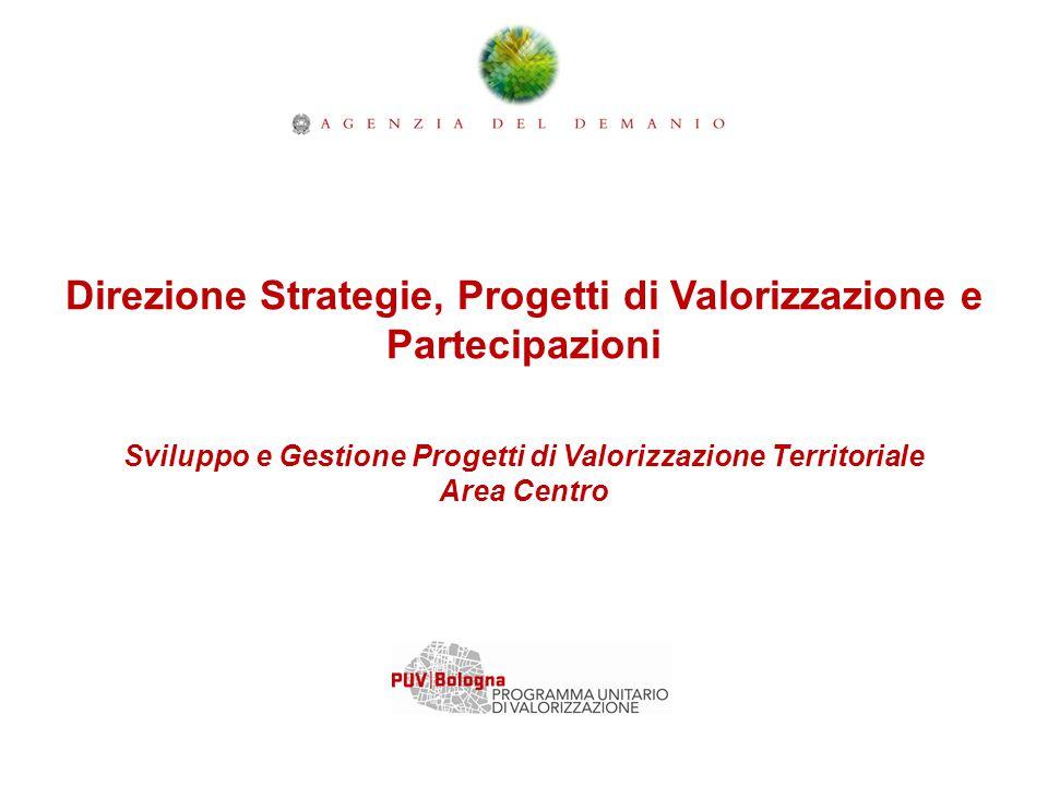 Direzione Strategie, Progetti di Valorizzazione e Partecipazioni Sviluppo e Gestione Progetti di Valorizzazione Territoriale Area Centro
