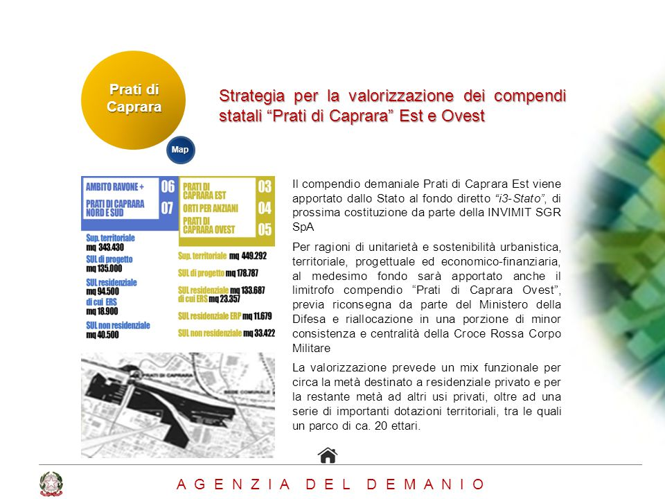 Prati di Caprara Strategia per la valorizzazione dei compendi statali Prati di Caprara Est e Ovest.