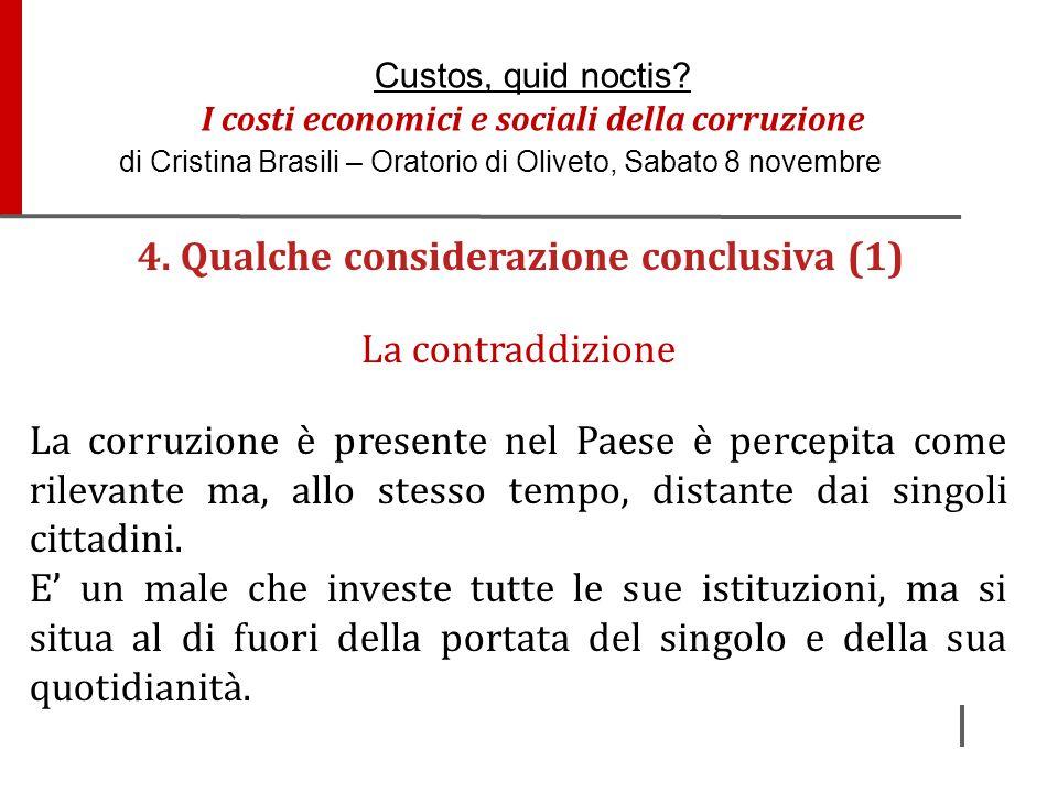 4. Qualche considerazione conclusiva (1)