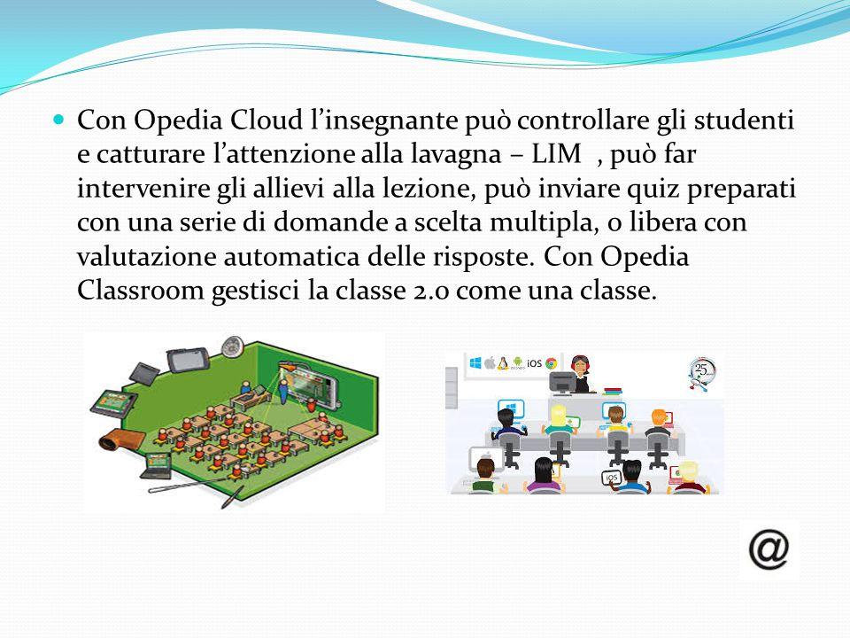 Con Opedia Cloud l'insegnante può controllare gli studenti e catturare l'attenzione alla lavagna – LIM , può far intervenire gli allievi alla lezione, può inviare quiz preparati con una serie di domande a scelta multipla, o libera con valutazione automatica delle risposte.