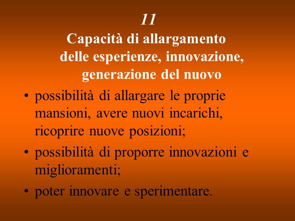 11Capacità di allargamento delle esperienze, innovazione, generazione del nuovo.