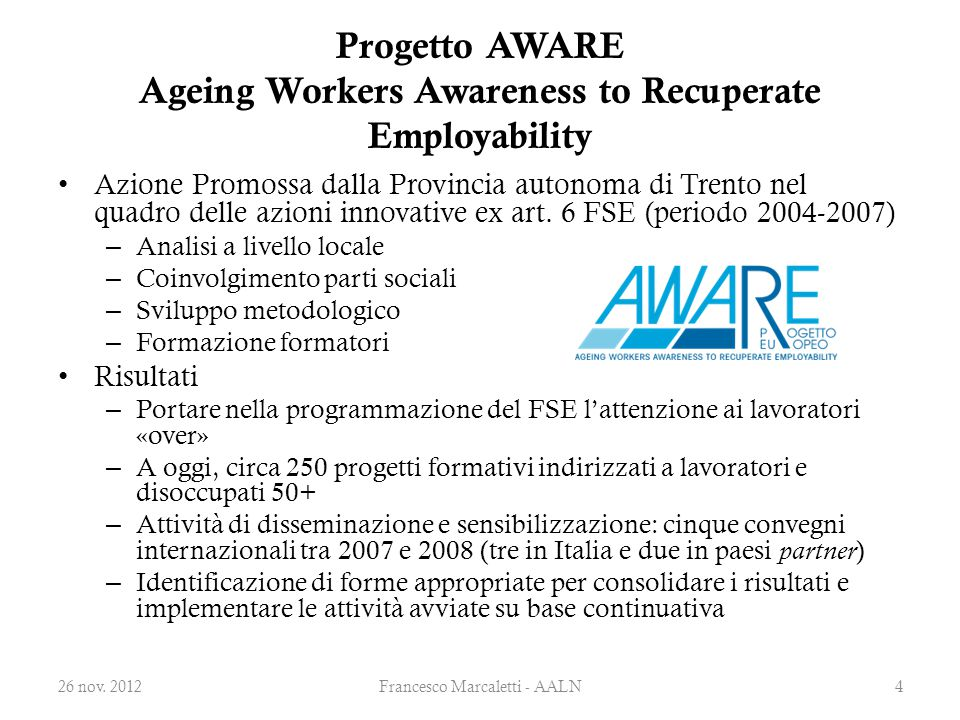 Progetto AWARE Ageing Workers Awareness to Recuperate Employability