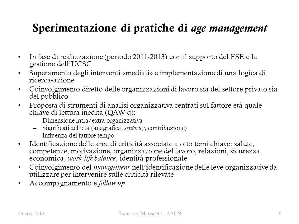Sperimentazione di pratiche di age management