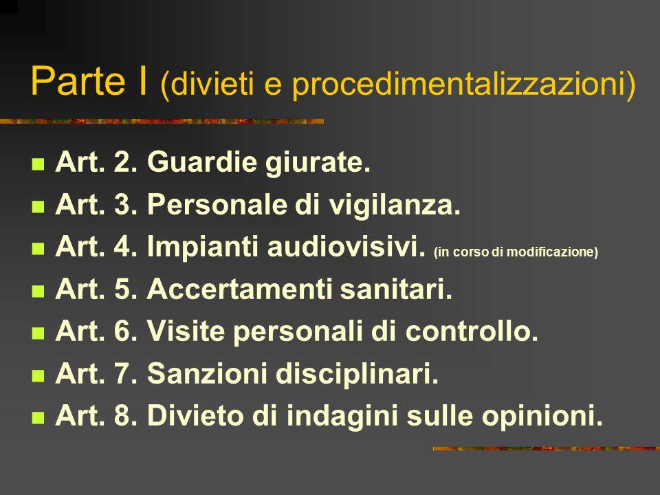 Parte I (divieti e procedimentalizzazioni)