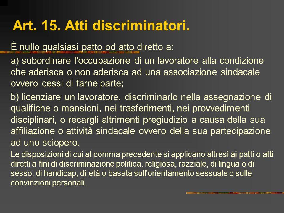 Art. 15. Atti discriminatori.