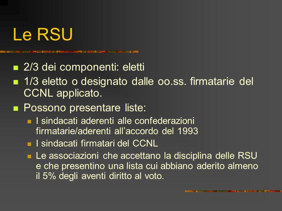 Le RSU 2/3 dei componenti: eletti