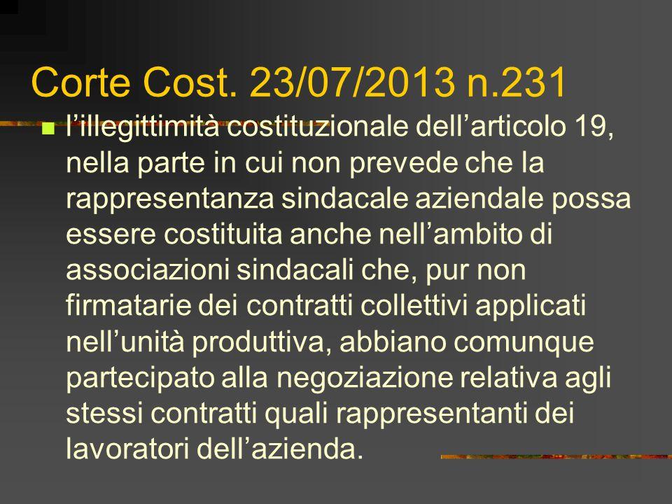 Corte Cost. 23/07/2013 n.231