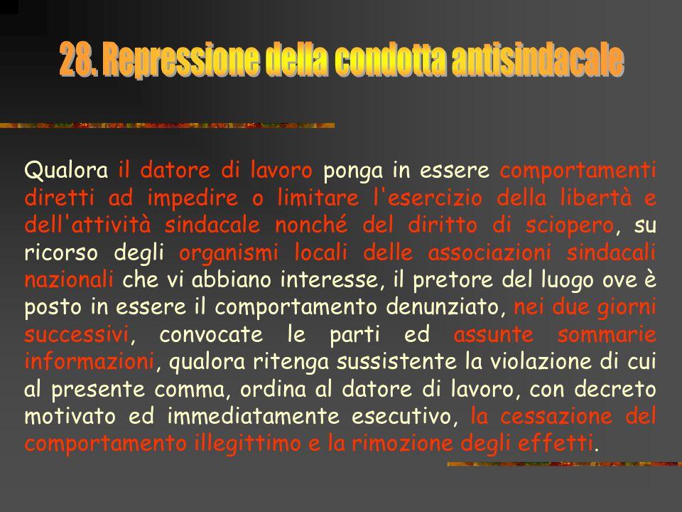 28. Repressione della condotta antisindacale