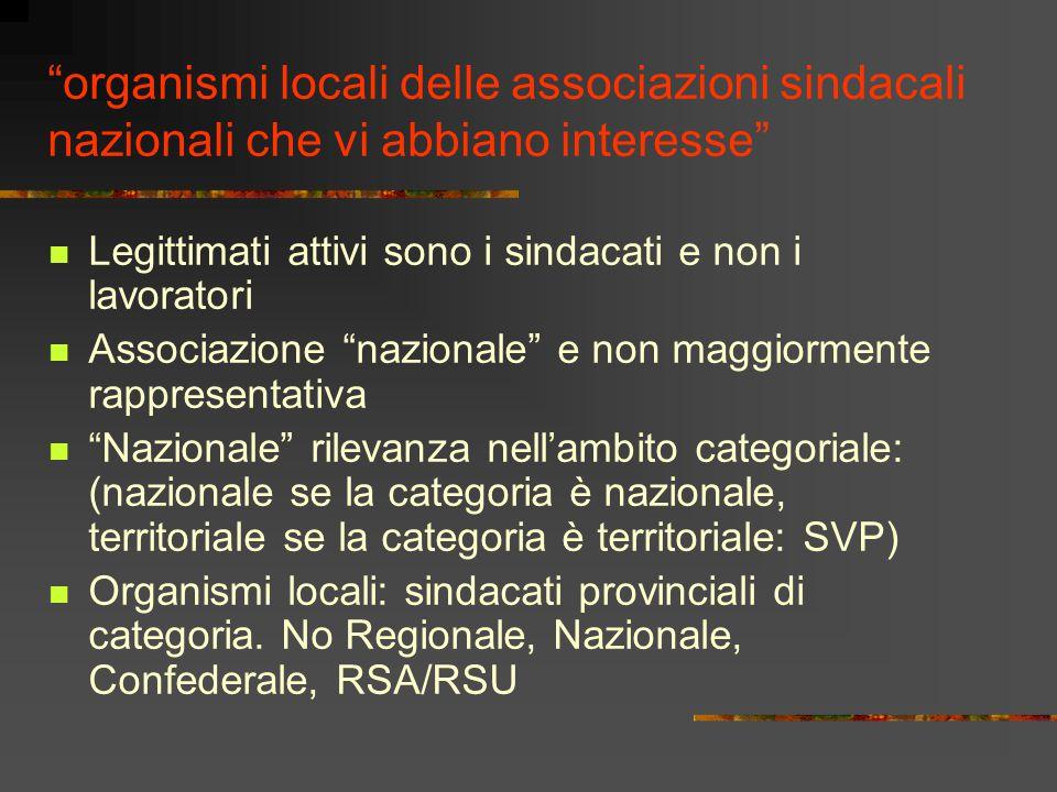 organismi locali delle associazioni sindacali nazionali che vi abbiano interesse
