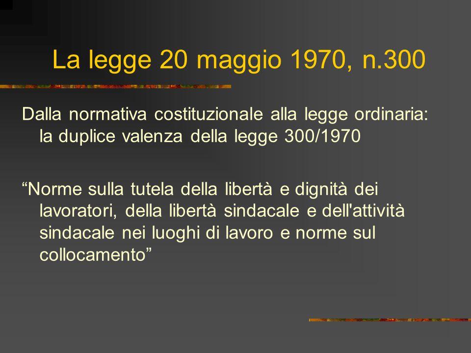 La legge 20 maggio 1970, n.300 Dalla normativa costituzionale alla legge ordinaria: la duplice valenza della legge 300/1970.