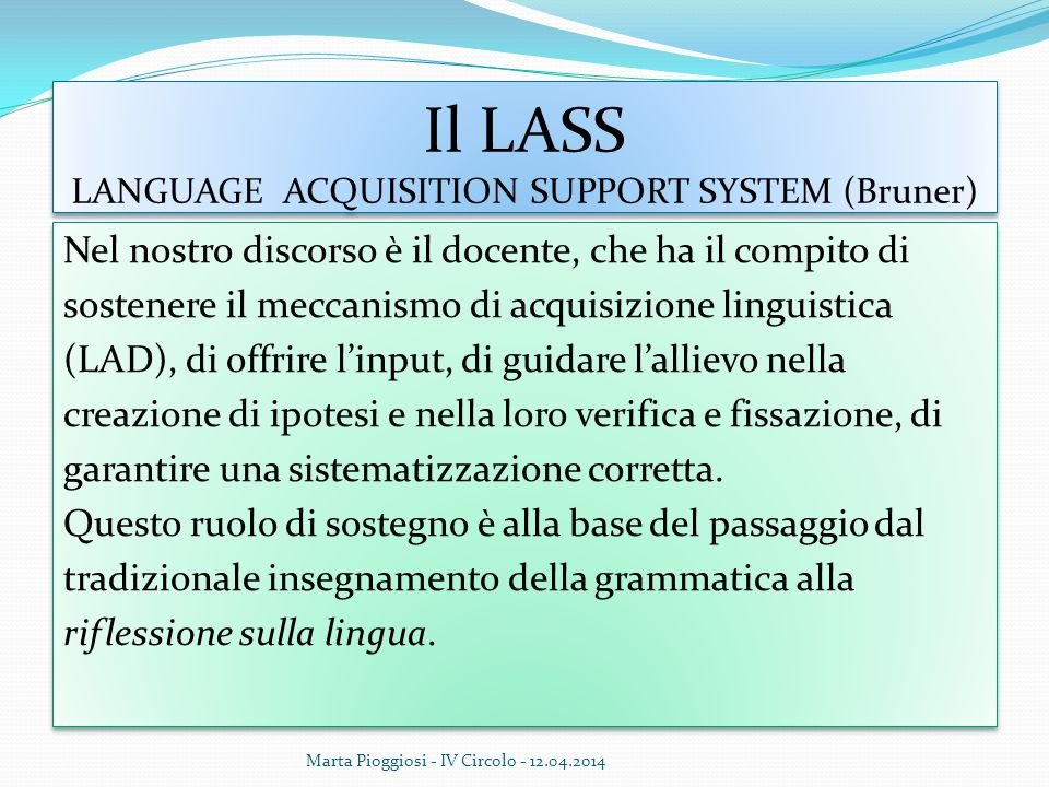 Il LASS LANGUAGE ACQUISITION SUPPORT SYSTEM (Bruner)