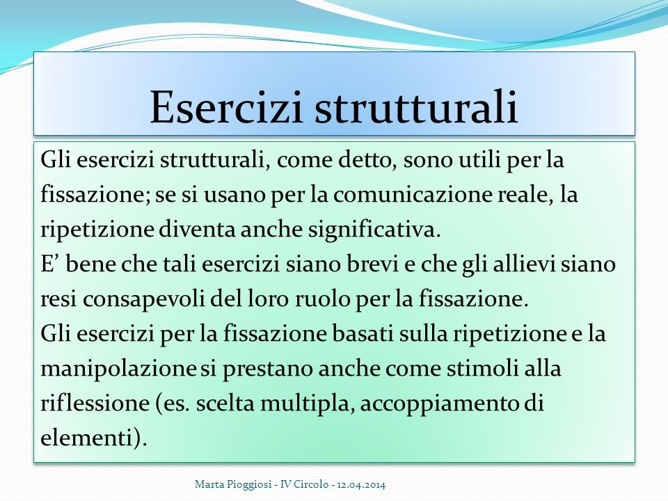 Esercizi strutturali